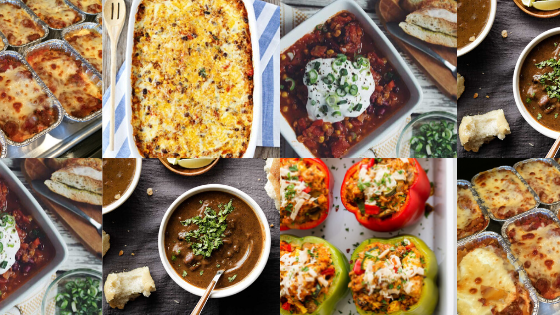 A collection of photos that show the freezer friendly meals: Chili, Quinoa Enchilada Bake, Stuffed Peppers, Lasagna, and Black Bean Soup.c